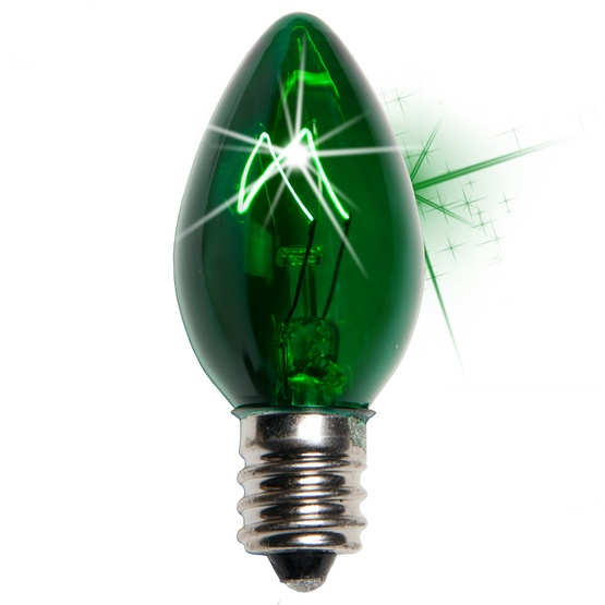 C7 Twinkle Green Christmas Light Bulbs, 7 Watt