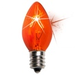 C7 Twinkle Amber / Orange Christmas Light Bulbs, 7 Watt