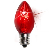 C7 Twinkle Red Christmas Light Bulbs, 7 Watt