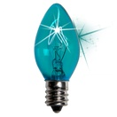 C7 Twinkle Teal Christmas Light Bulbs, 7 Watt
