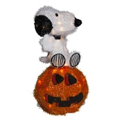 Lighted Snoopy on Jack-O-Lantern