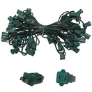 "50' C7 Commercial Light Stringer, SPT1 Green Wire, 12"" Spacing"