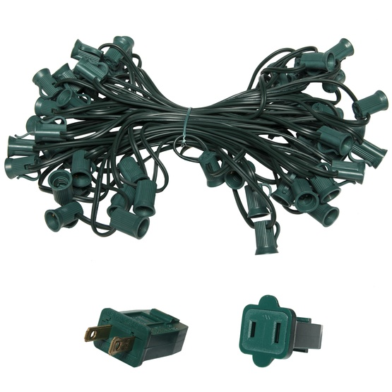 "C7 E12 Light Stringer, 50' Length, 18"" Spacing, SPT1 5 Amp Green Wire, Commercial Grade"