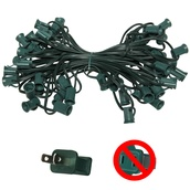"C7 E12 Light Stringer, 50' Length, 6"" Spacing, SPT1 7 Amp Green Wire, Commercial Grade"