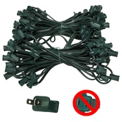 "C7 E12 Light Stringer, 100' Length, 12"" Spacing, SPT1 7 Amp Green Wire, Commercial Grade"