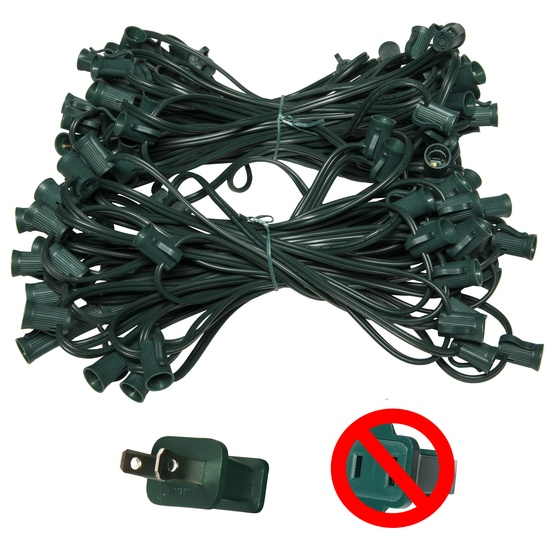 "100' C7 Commercial Light Stringer, SPT2 Green Wire, 12"" Spacing"