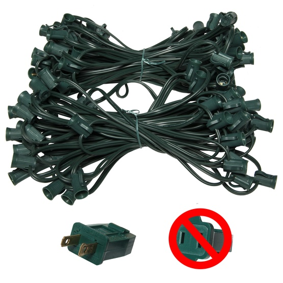 "C7 E12 Light Stringer, 119' Length, 12"" Spacing, SPT1 7 Amp Green Wire, Commercial Grade"