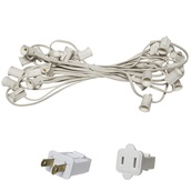 "C7 E12 Light Stringer, 25' Length, 6"" Spacing, SPT1 5 Amp White Wire, Commercial Grade"