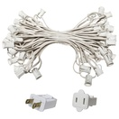 "50' C7 Commercial Light Stringer, SPT1 White Wire, 12"" Spacing"