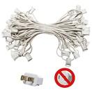 """50' C7 Commercial Light Stringer, SPT1 White Wire, 6"""" Spacing"""