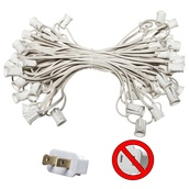 "C7 E12 Light Stringer, 50' Length, 6"" Spacing, SPT1 7 Amp White Wire, Commercial Grade"