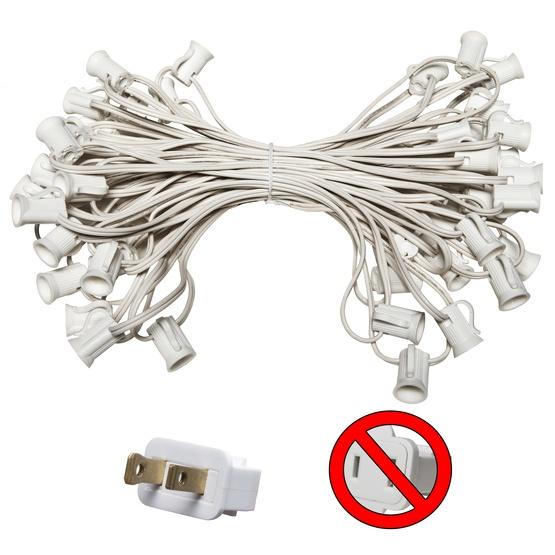 """C7 E12 Light Stringer, 50' Length, 6"""" Spacing, SPT1 7 Amp White Wire, Commercial Grade"""