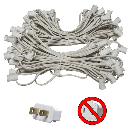 "C7 E12 Light Stringer, 100' Length, 12"" Spacing, SPT1 7 Amp White Wire, Commercial Grade"
