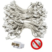 "150' C7 Commercial Light Stringer, SPT2 White Wire, 12"" Spacing"