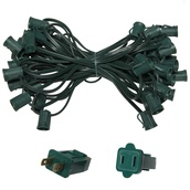 "50' C9 Commercial Light Stringer, SPT1 Green Wire, 18"" Spacing"