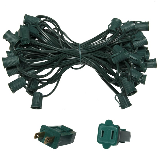 "C9 E17 Light Stringer, 50' Length, 18"" Spacing, SPT1 5 Amp Green Wire, Commercial Grade"