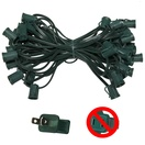 "50' C9 Commercial Light Stringer, SPT2 Green Wire, 6"" Spacing"