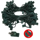 "100' C9 Commercial Light Stringer, SPT2 Green Wire, 12"" Spacing"