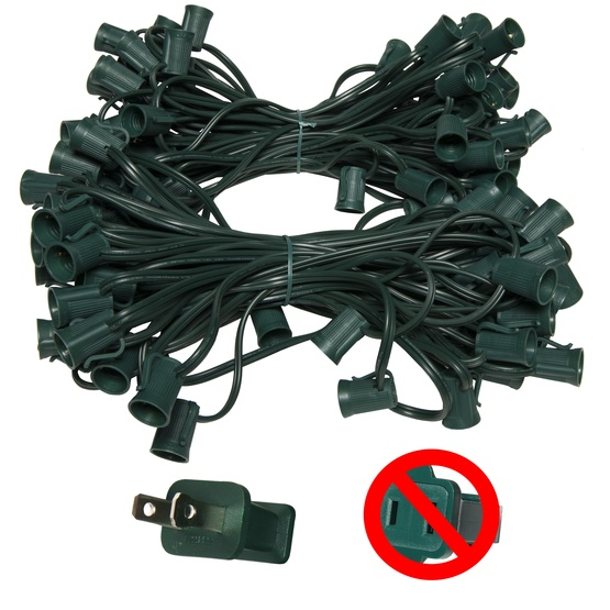 "C9 E17 Light Stringer, 119' Length, 12"" Spacing, SPT2 10 Amp Green Wire, Commercial Grade"
