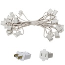 "15' C9 Commercial Light Stringer, SPT1 White Wire, 12"" Spacing"
