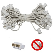 "50' C9 Commercial Light Stringer, SPT2 White Wire, 6"" Spacing"