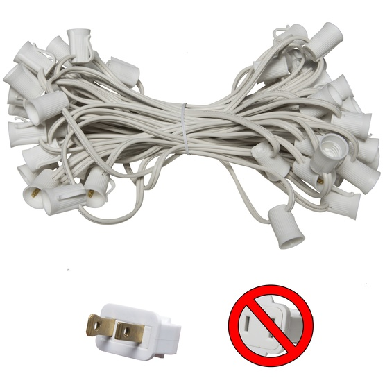 "50' C9 Commercial Light Stringer, SPT2 White Wire, 12"" Spacing"