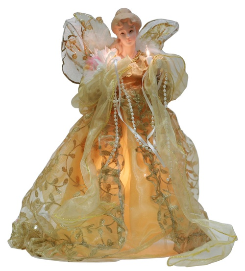 "14"" Gold Fabric Angel Tree Topper"