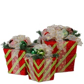 105 Light Red/Green Sisal Gift Box, 3 Piece Set