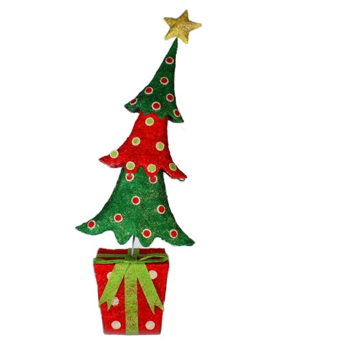 "58"" 105 Light Sisal Christmas Tree on Gift Box"