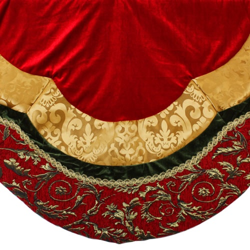 "60"" Red, Gold and Green Velvet Tree Skirt"