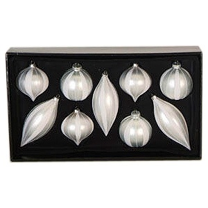 9 Count Silver Assorted Ornaments