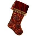 "23"" Burgundy/Gold Velveteen Stocking with Tassle"