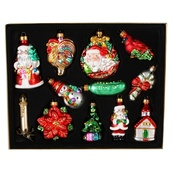 12 Count Multicolor Novelty Glass Ornaments