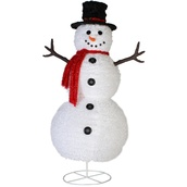 "49"" Fluffy Snowman Outdoor Christmas Decoration"