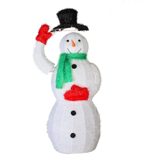 "36"" 50 Light Wire Frame Snowman with Black Hat"