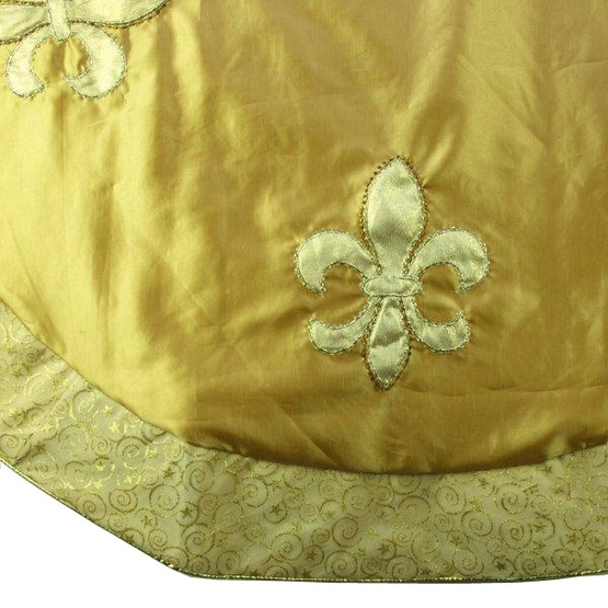 "56"" Gold Satin Embroidered Fleur de Lis Tree Skirt"