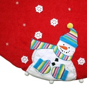 "56"" Red Knit Snowmen Christmas Tree Skirt"