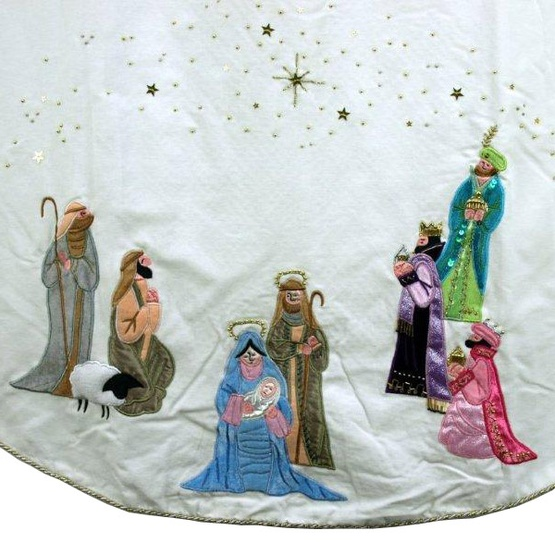 "56"" White Velvet Tree Skirt with Multi-Colored Nativity Scene"