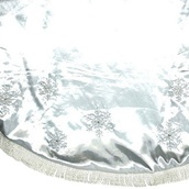 "56"" Silver Snowflake Christmas Tree Skirt with Fringe"