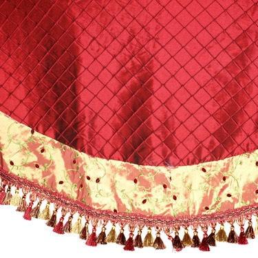 "56"" Burgundy Tree Skirt with Swirl Design and Tassel Border"