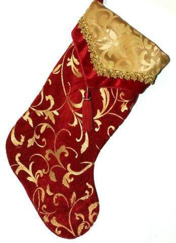 "19"" Burgundy and Gold Stocking with Tassel"