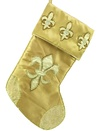 "19"" Gold Stocking with Embroidered Fleur de Lis"