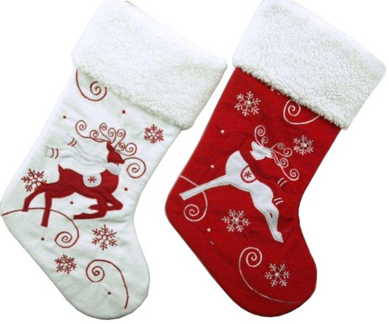 "19"" Red and White Embroidered Reindeer Stockings, Set of Two"