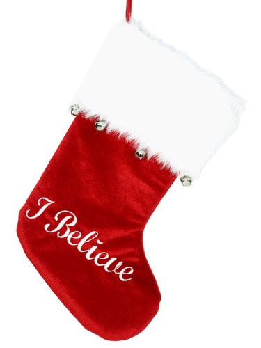 """19"""" Red and White """"I Believe"""" Stocking with Fur and Bell Cuff"""