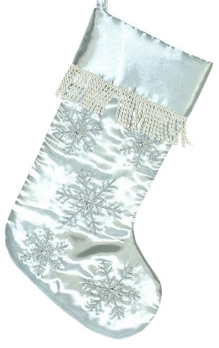 "19"" Silver Snowflake Stocking with Fringe"