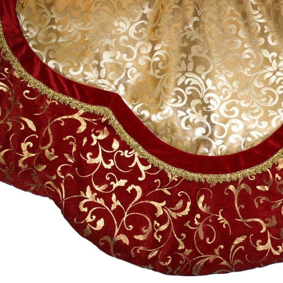 "56"" Burgundy and Gold Tree Skirt with Swirl Detail"