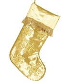 "19"" Gold Snowflake Stocking with Gold Fringe"