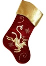 "19"" Burgundy Stocking with Gold Cuff and Reindeer Design"
