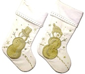 "19"" White Velvet Stockings with Pearl Snowmen, Set of Two"