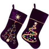 "20.5"" Purple Velvet Stockings with Sequins, Set of 2"